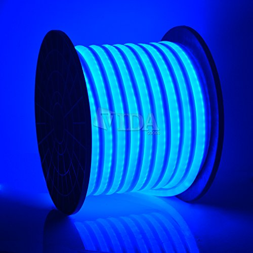 LED Neon Rope Light Flex Tube Sign Decorative Home Indoor Outdoor (Blue, 150)
