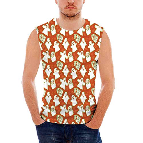 Burnt Orange Mens Comfort Cotton Tank Top,Funny Halloween and Demon Graphic on -
