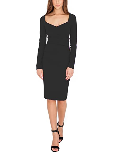 Womens Formal Dresses Square Neck Long Sleeves Knee Length Pencil