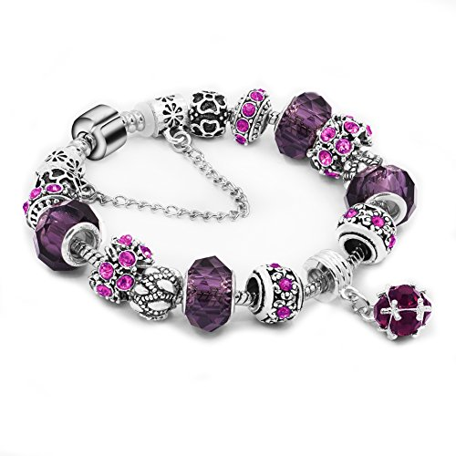 Daycindy DIY Glass Beads Crystal Charms Bracelet for Women, 19.5CM Pink Blue Purple Red (Pink Beaded Charm)