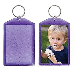 Translucent Sparkle Photo Keychain - 24 Pack (Purple)