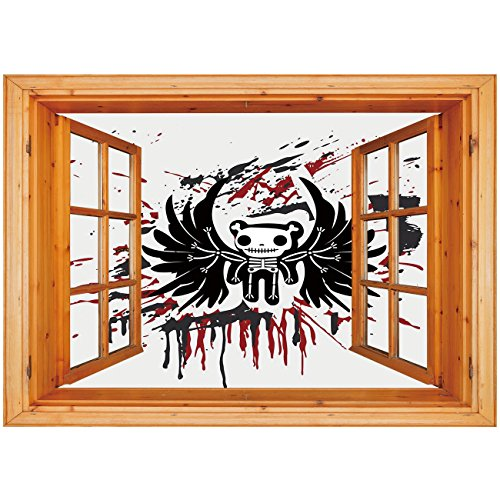 3D Depth Illusion Vinyl Wall Decal Sticker [ Halloween,Teddy Bones with Skull Face and Wings Dead Humor Funny Comic Terror Design,Pearl Black Ruby ] Window Frame Style Home Decor Art Removable Wall St ()