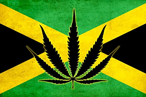 Jamaican Flag with Marijuana Leaf Symbol Art Print Mural Giant Poster 54x36 inch (Best Buds Weed Wallpaper)