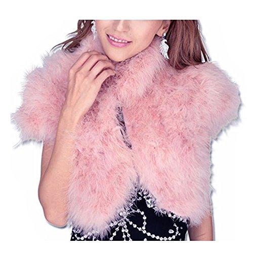 羽根 羽 ボレロ カーディガン ジャケット 半袖 マラボー フェザー 裏地 ホック付き ホワイト ピンク ベージュ Mサイズ