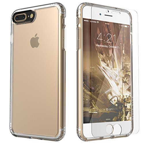 iPhone 8 Plus and 7 Plus Case, SaharaCase Clear Protective Kit Bundled with [ZeroDamage Tempered Glass Screen Protector] Rugged Slim Fit Shockproof Bumper [Hard PC Back] Protection - Clear