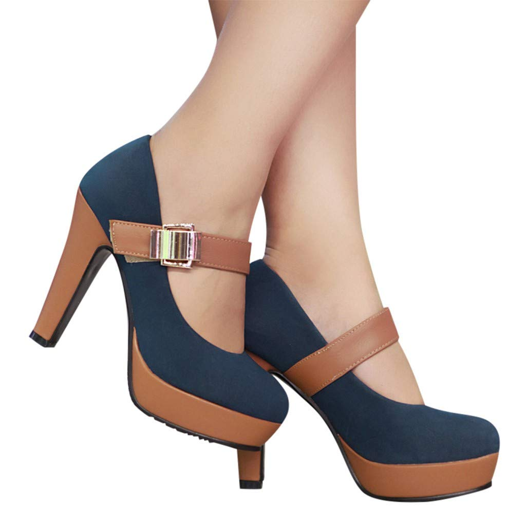 Gyouanime High Heel Sandals Shoes Women Ankle Buckle Strap Boots Round Toe Sandals Shoes Office Work Sandals Dress Shoes Blue