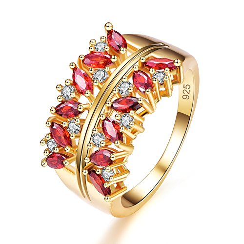 Veunora Graduation Gift Gold Plated 2x4mm Marquise Cut Garnet Cluster Ring Band for Women Size 8 ()