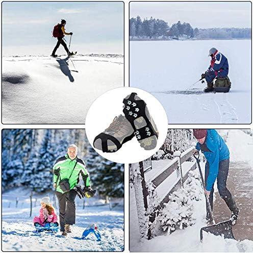 Yhjkvl Ice Tacchetti I Bambini di trazione Tacchetti Anti Slip Scarpe Ramponi 11 Denti Spikes in Acciaio Inox for Escursionismo Invernale Facendo unescursione Red Ramponi da Ghiaccio