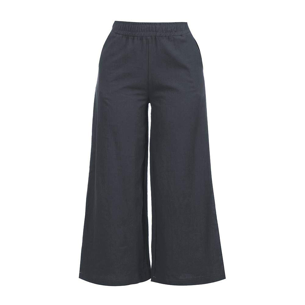 Meigeanfang Womens Pure Color Palazzo Wide Leg Pants Loose Casual Elasticband Cotton Linen Cropped Trousers with Pocket