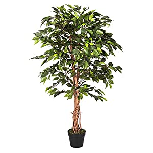homescapes 4 feet green ficus tree with real wood stems and lifelike leaves replica artificial plant - Ficus Trees