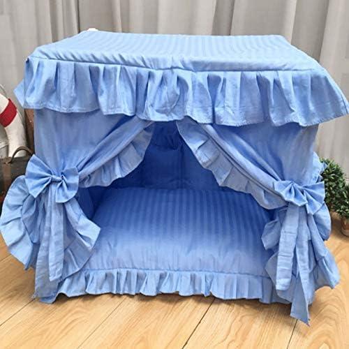 スクエアプリンセスベッドジッパー犬舎バラエティスタイル半閉じ冬暖かい取り外し可能ペットハウスリビングルームベッドルームバルコニーユニバーサルキャットハウス (色 : Plain blue, サイズ さいず : 60×40×50cm)