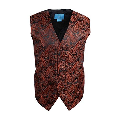 EGC1B01E-M Black Orange Paisley Mens Jewelry Waistcoat Woven Microfiber Working Day Dad Medium Vest By Epoint