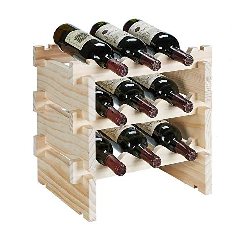 defway Wood Wine Rack Countertop - Stackable Storage Wine Holder 9 Bottle Display Free Standing Natural Wooden Shelf for Bar Kitchen (3-Tier Natural Wood)