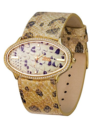 Moog Paris Safari Women's Watch with Beige & Brown Dial, Beige & Brown Genuine Leather Strap & Swarovski Elements - M44146-701