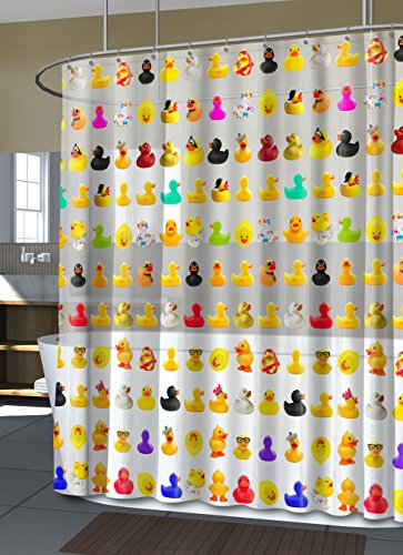 Splash Home Peva 4G Duckies Curtain Liner Design for Bathroom Showers and Bathtubs Free of PVC Chlorine and Chemical Smell-Eco-Friendly-100% Waterproof, 70 x 72 Inch- 70 x 72 Inch, Multi
