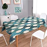 SCOCICI1588 Spillproof Fabric Tablecloth Islamic Tiles Cultural Hexagon Shape Blue Teal White wear-resistant, washable, anti-liquid spill-W52 x L108