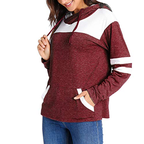 (TANLANG ☀2019 Women Color Block Patchwork Long Sleeve Hoodies Casual Sweatshirt Long Sleeve Double Hat Pocket Sweatshirt Red)