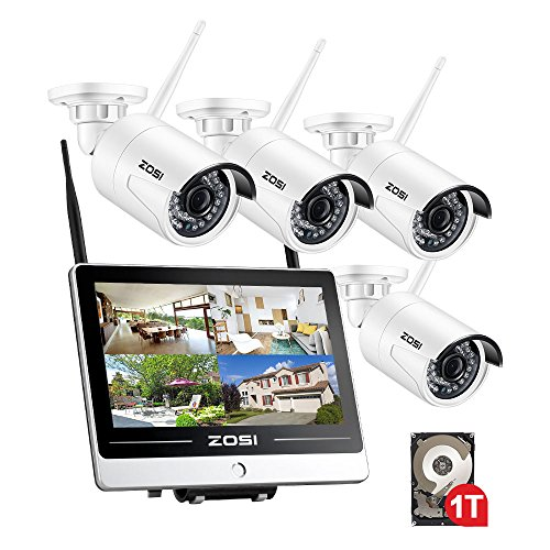 Lcd Video Monitor Surveillance Screen - ZOSI 4CH 1080p Wireless Security Camera with Monitor,12.5 Inch LCD Monitor DVR/NVR Surveillance System with 1TB Hard Drive Built-in,4PCS 2.0MP 1080p Outdoor/Indoor Wi-Fi Camera,Smart Motion Detection
