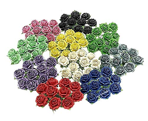 NAVA CHIANGMAI Beautiful Artificial Mulberry Paper Mini Rose Flower Wedding Card Embellishment Craft Scrapbooking Doll House Supplies Card DIY Mixed Colour Flower Accessories Scrapbook Decoracion