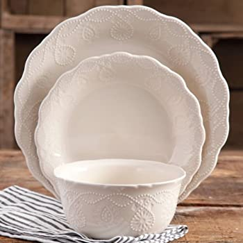 The Pioneer Woman Cowgirl Lace 12-Piece Dinnerware Set - Linen & Amazon.com | The Pioneer Woman Cowgirl Lace 12-Piece Dinnerware Set ...