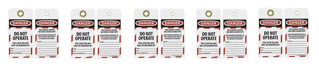 NMC LOTAG36-25 Lockout Tag,''Danger - DO NOT Operate,'' 6'' Height x 3'' Width, Unrippable Vinyl, Red/Black on White (Pack of 25) (5-(Pack))