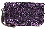 Coach Occasion Collection Sequin Flap Large Clutch Wristlet Bag 44460 Purple
