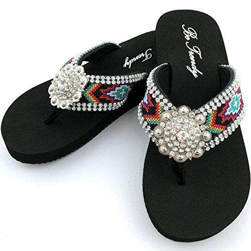 New Western Rhinestone Concho (Western Peak Women's Aztec Design Full Rhinestones Round Concho Multicolor Flip Flop Sandals (S)