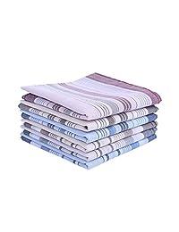 Houlife 100% Cotton Men's Stripe Soft Checked Pattern Handkerchief 6 Pieces (Multi, 6 Pieces)