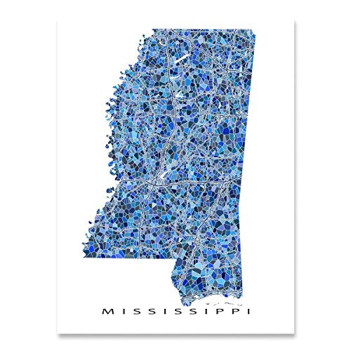 Mississippi Map Print, MS State Wall Art Decor, - Map Mississippi Wall