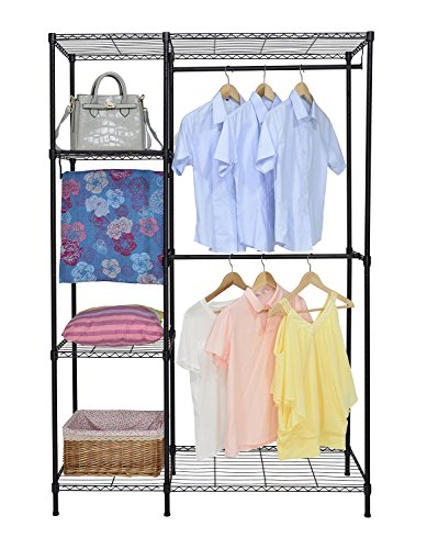 Finnhomy Heavy Duty Wire Shelving Garment Rack for Closet Organizer Portable Clothes Wardrobe Storage with Adjustable Shelves and Hangers,Thicken Steel Tube