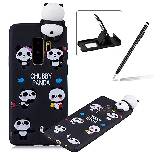 Soft TPU Case for Galaxy S9 Plus,3D Flexible Rubber Case for Galaxy S9 Plus,Herzzer Premium Stylish Funny Panda Printed Slim Fit Shockproof Scratch Resist Silicone Bumper Back Cover