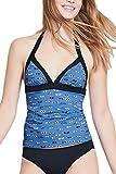 EVELUST Women's Halter Plunge Swimsuit,Cute Blue Glasses Pattern Tummy Control Tankini Top (A18075,Blue,M)