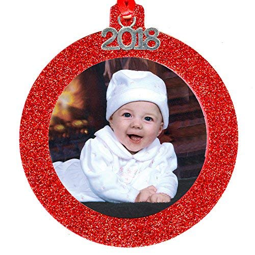 - 2018 Magnetic Glitter Christmas Photo Frame Ornament with Non Glare Photo Protector, Round - Red