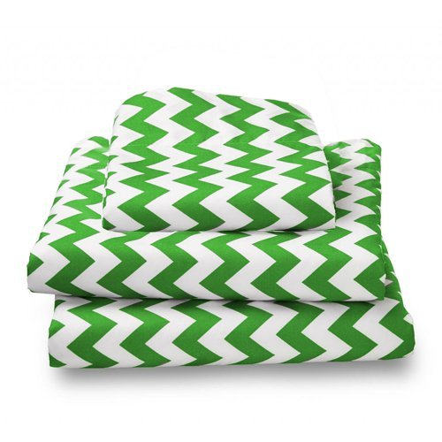 bkb Chevron Toddler Sheet Set, Green. Free Delivery