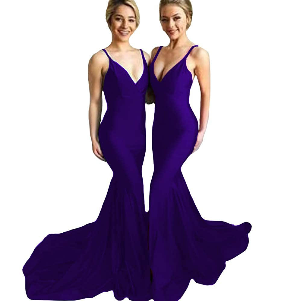 Purple IVYPRECIOUS Women's V Neck Mermaid Prom Dresses Backless Long Evening Gowns Sweep Train