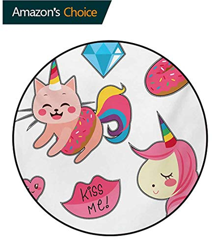 RUGSMAT Unicorn Cat Modern Washable Round Bath Mat,Cute Fantastic Icons for Girls Magical Characters Mythological Mascots Non-Slip Bathroom Soft Floor Mat Home Decor,Round-55 Inch Pink Multicolor