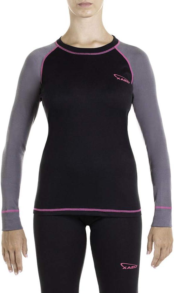 colore nero//fucsia intimo termico donna maglia da sci per strato base da donna XAED