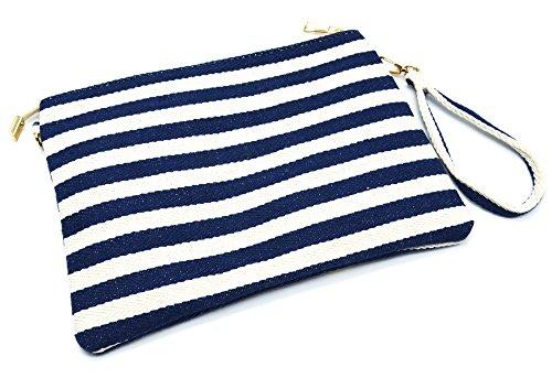 Exotiques Shop Marine Tissu Bandoulière My avec Rayures Moyen Bleu Pochette Marinière PCH54 Sac Motifs Oh g4q56B0w