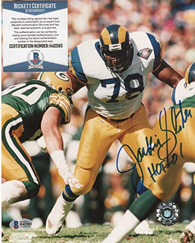 JACKIE SLATER LOS ANGELES RAMS HOF 01 SIGNED 8X10 PHOTO BECKETT H42583 ()