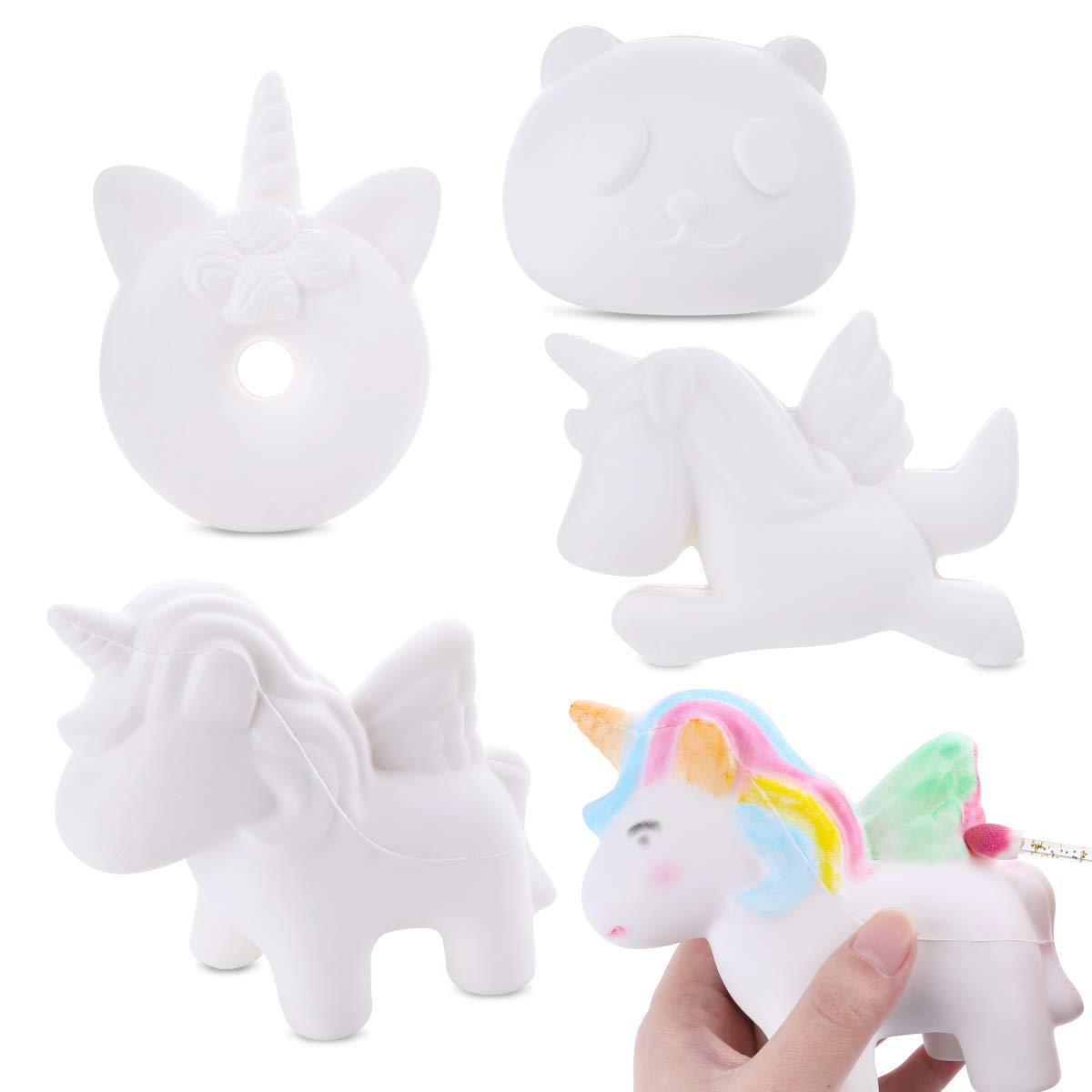LEEHUR 4Pcs DIY White Animal Slow Rising Squishies Pack Party Favors Jumbo Blank Kawaii Soft Creamy Unicorn Horse Panda Donut Squishy Squeeze Sensory Toys Stress Anxiety Relief for Kids Adults by LEEHUR