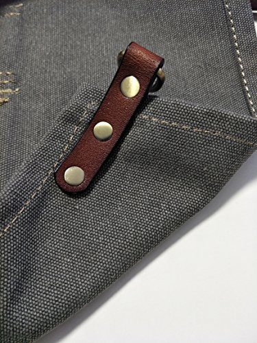 Heavy Duty Gray Waxed Canvas Work Apron With Pockets For Man (31 by 23.62inch) by Luchuan (Image #6)