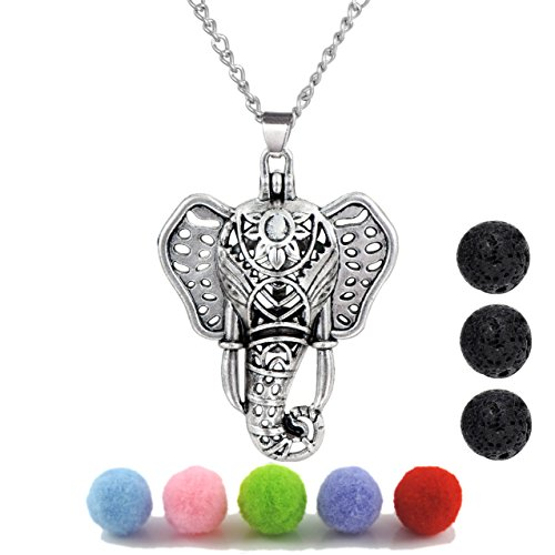 Aromatherapy Perfume (Antique Silver Luck Elephant Locket Lava Stones Perfume Fragrance Essential Oil Aromatherapy Diffuser Charms Pendant Necklace)