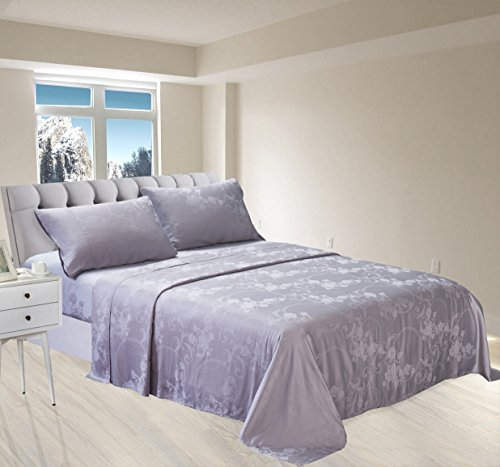 - New Season Home Itallian Silver Queen Silk Sheet Set, 4 Piece