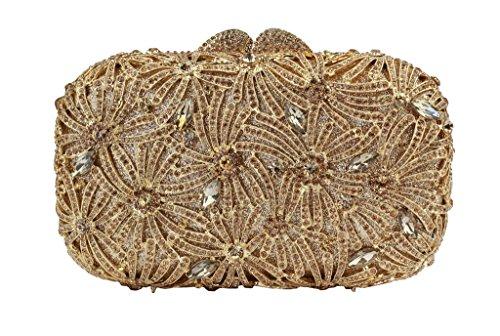 Yilongsheng Femmes Bright Crystal Fleurs Embrayage Sacs avec détachables chaîne (or)