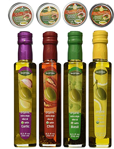 Dean Jacob's Bread Dipping Seasonings with Mantova Organic Flavored Extra Virgin Olive Oils - 8 pc. ()