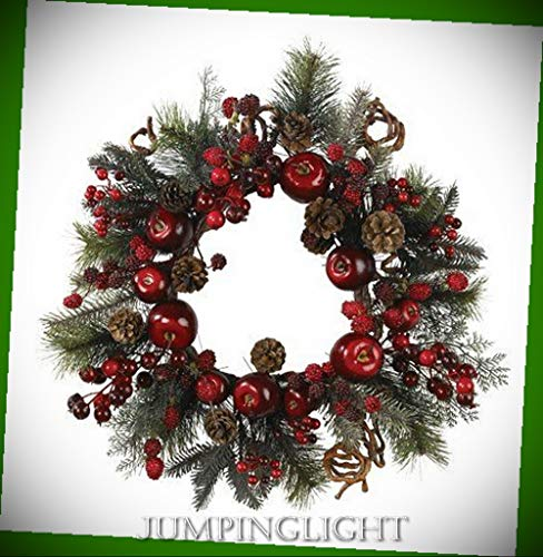 - JumpingLight 4677 22'' Apple Berry Wreath Artificial Flowers Wedding Party Centerpieces Arrangements Bouquets Supplies