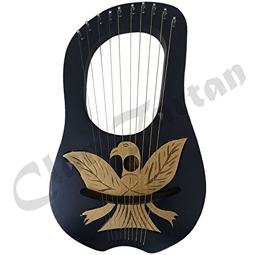 Lyre Harp 10 Metal Strings Rosewood Lyra Harps Harfe Arpa Case Key by Clan Tartan