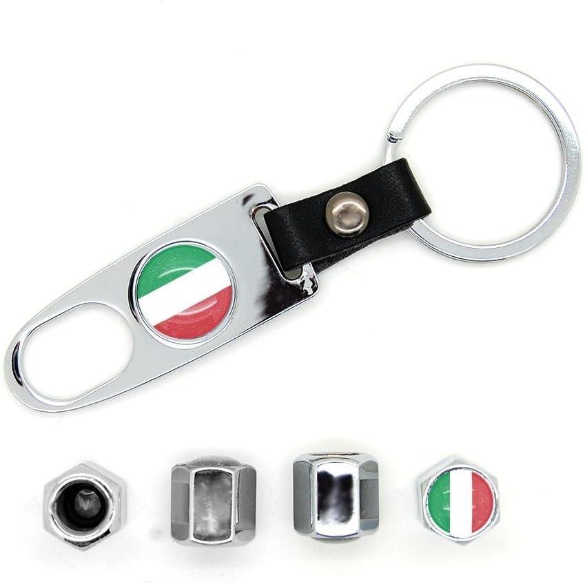 4 X Ventilkappen Schlüsselanhänger Motiv Italienische Flagge Verchromt Auto