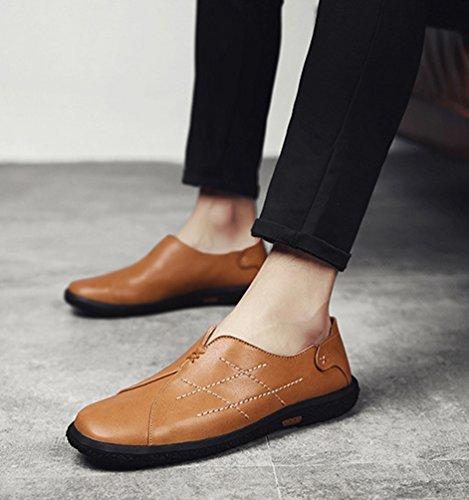 Mocasines On Zapatos Zapatos Dooxi Moda Cómodos Hombre Casual Loafer Negocio Planos Marrón claro Slip wRwxIXzqPF