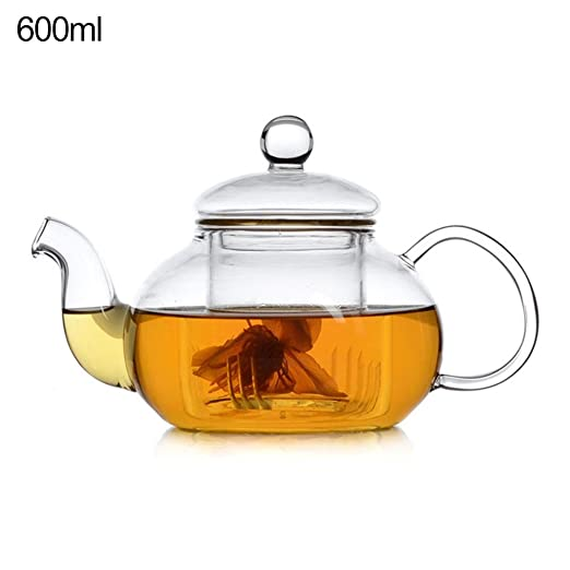 Tetera de cristal 400 ML Tetera De Vidrio Transparente Con Filtro y Tapa para microondas y estufa segura, colador de té para té de hojas sueltas y té ...